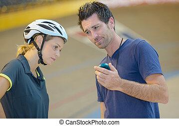 temps, entraîneur, déception, cyclistes, exprimer