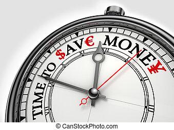 temps, epargner argent, horloge, concept