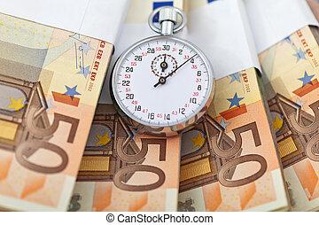 temps est argent, concept, à, euros