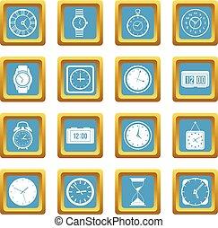 temps, et, horloge, icônes, azur