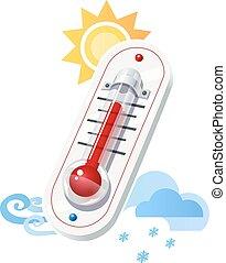 temps, exposition, thermomètre, température, icônes