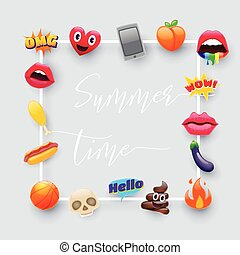 temps, fantastique, été, emoji, ensemble, emoticons