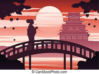 temps, femme, robe, japon, coucher soleil, stand, pont, conception, érable, ombre, lumière, château, automne, kimono, silhouette, quoique