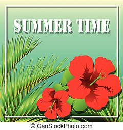 temps, feuilles, paume, exotique, été, fleurs, arbre