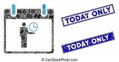 temps, filigranes, jour, gratté, calendrier, directeur, rectangle, mosaïque