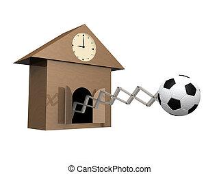 temps, football, jeu