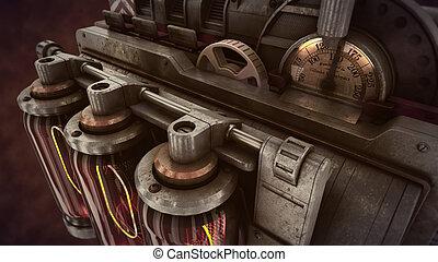 temps, fumée, brun, mécanisme, steampunk