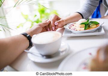 temps, gentil, épuisé, ensemble, restaurant