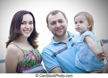 temps, girl, dépenser, bébé, heureux, jeune famille, extérieur