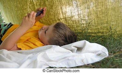 temps, gosse, téléphone., tent., vidéo, gadget, health., ...