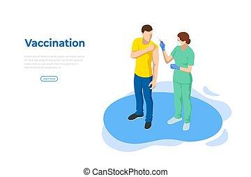 temps, grippe, infirmière, sanguine, needle., essai, patient, grippe, covid-19, vacciner, médecine, docteur, vaccin, ou, concept., prendre, scientifique, coup, isométrique, donner, vaccination.