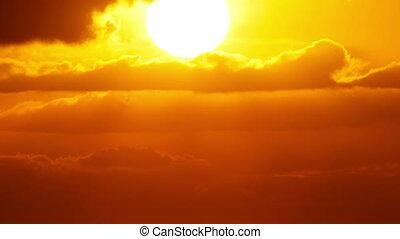 temps, gros plan, coucher soleil, défaillance