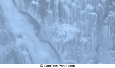 temps, hiver, islande, chute eau
