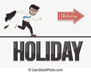 temps, homme affaires, vacances