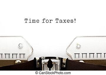 temps, impôts, machine écrire