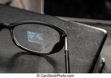 temps, intelligent, projeté, lunettes, sur, app, lentille