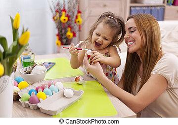 temps, joyeuses pâques, famille