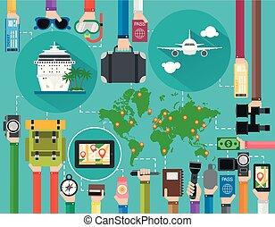 temps, la terre, bateau, voyage, ensemble, vacances été, croisière, conception, plat, avion, carte