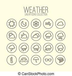 temps, linéaire, icônes