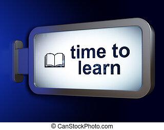 temps, livre, fond, apprendre, panneau affichage, education, concept: