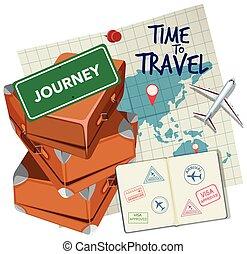 temps, logo, voyage
