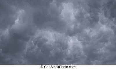temps, longueur courante, menacer, ciel, défaillance, travers, rain., lentement, fond, nuages, ultra, inquiétant, dérive, hd, nature