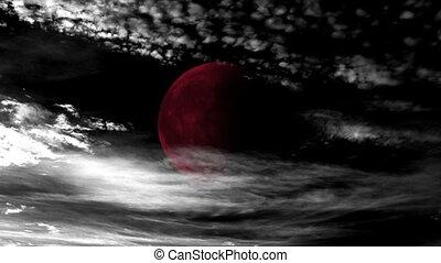 temps, lune, défaillance, nuages, sanguine
