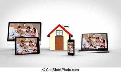 temps, montage, maison famille
