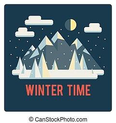 temps, montagnes, paysage, hiver, nuit