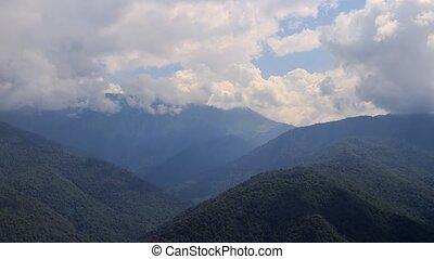temps, montagnes., russie, lapse., nuages, sochi, zoom.