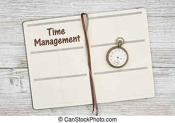 temps, montre, jour, planification, poche, ton, gestion, planificateur