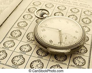 temps, montre, zones