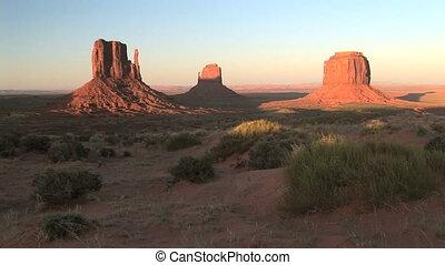 temps, monument, défaillance, coucher soleil, vallée