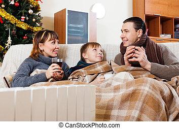 temps, noël famille, trois, heureux