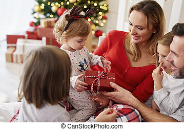 temps, noël heureux, famille, bébé