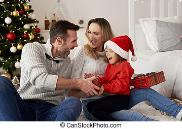 temps, noël heureux, famille, girl