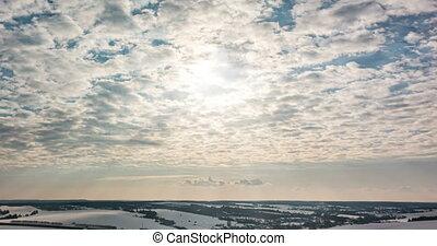 temps, nuage, hiver, défaillance, bleu, nuageux, rouler, ...