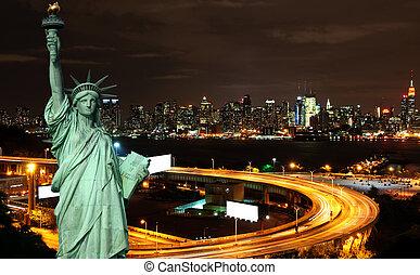 temps, nuit, espace, vibrant, cityscape, nyc, annonce