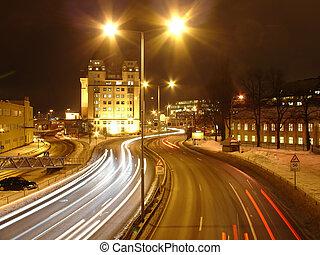 temps, nuit, lumières ville