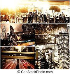 temps, nuit, moderne, collage, ville