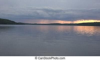 temps, orage, lac, devant, venir