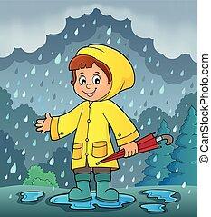temps, pluvieux, girl, thème, image, 2