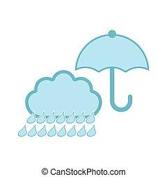 temps pluvieux, parapluie, isolé, icône