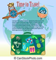 temps, poster., vecteur, voyage, illustration.