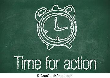 temps, pour, action