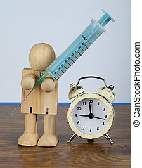 temps, pour, médicament, conception, à, bois, homme, et, seringue