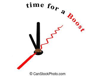 temps, poussée, horloge