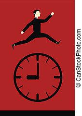 temps, saut, homme affaires