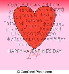 temps, signification, tel, etc., indonésien, arabe, rouges, beaucoup, thaï, lumière, anglaise, japonaise, valentine, février, love., chinois, mois, lao, jour, italien, arrière-plan., vietnamien, langues, heureux