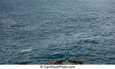 temps, statue, défaillance, îles, littoral, faroe